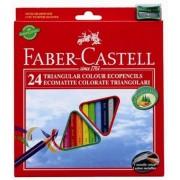 Creioane colorate triunghiulare + ascutitoare, 24 culori/set, FABER CASTELL Eco