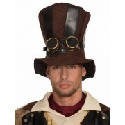 Vegaoo Gestreepte Steampunk hoge hoed voor volwassenen One Size