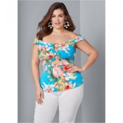 Plus Size OFF THE Shoulder Ring TOP Tops - Blue/multi