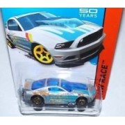 Hot Wheels 13 Ford Mustang Gt Silver And Blue 161/250 Hw Race Track Aces 50Th Year Mustang