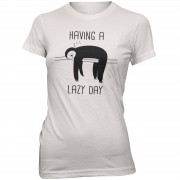 Womens Slogan Collection Camiseta Having A Lazy Day - Mujer - Blanco - M - Blanco