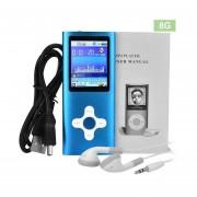EY Pantalla De 1.8 Pulgadas Reproductor De MP4 Incorporado En 8GB De Memoria De Vídeo De Música FM Raido-Azul