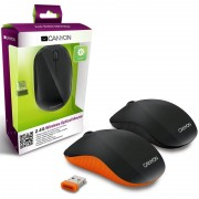 Mouse, CANYON CNR-MSOW07O, Wireless, Black/Orange