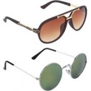 Zyaden Aviator, Round Sunglasses(Green, Brown)
