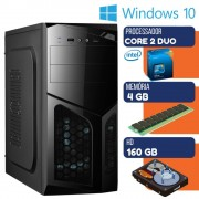 PC DESKTOP INTEL CORE 2 DUO 4GB RAM HD 160GB WINDOWS 10 S/MONITOR