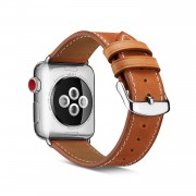 Top Layer Cowhide Leather Watch Strap Band Replace Part for Apple Watch Series 4 44mm, Series 3 / 2 / 1 42mm - Brown