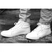 Men's White Lace-up Boots