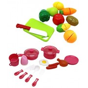 ZERBO 25 Pcs Toy Cutting Velcro Fruits & Vegetable Mini Kitchen Play Food Cooking and Serving Playset