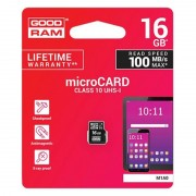 Card Micro SD Goodram, capacitate 16 GB, clasa 10