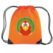 Bellatio Decorations Papegaaien rugtas / gymtas oranje voor kinderen