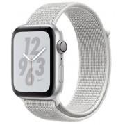 Smartwatch Apple Watch 4 Nike Plus, 44mm, LTPO OLED Retina Display, GPS, Bluetooth, Wi-Fi, Bratara Sport Loop Alba, Carcasa aluminiu, Rezistent la apa si praf (Silver)