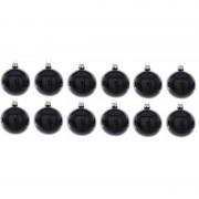 Merkloos 12x Zwarte glazen kerstballen 10 cm glans