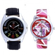 Classical Black Round Dial And Multi Pink Colour Couple Casual Analogue Wrist Watch By Vivah Mart