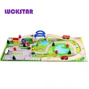 LUCKSTAR(TM) Disassembly & Assembly Wooden Railway Track Train Tracks Set Overpass Toy Urban Combination Block