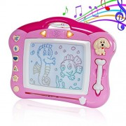SGILE Musical Color Magnetic Drawing Writing Painting Boards with Light and Music, Non-Toxic Erasable Sketching Magna Doodle Magnetic Sketch Pad for Toddlers Kids, Pink