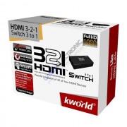 Switch Multimediale 3 porte HDMI Kworld HDMI 3-2-1 (HDMI-321)