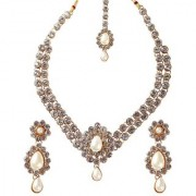 Vivant Charms by JewelMaze Zinc Alloy Kundan Gold Plated Necklace Set -FAH0018