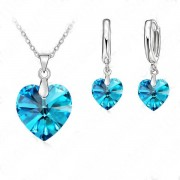 Set argint lant cercei inel cu elemente swarovski Blue Heart
