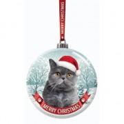 Santa Paws Kerstversiering glazen kerstbal grijze kat/poes 7 cm