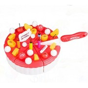 VIPASNAM-Red Pretend Role Play Kitchen Toy Happy Birthday Cake Food Cutting Set Kids