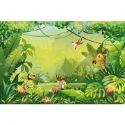 Walls and Murals Colorful Jungle Wallpaper for Kids Play Area Peel and Stick Wallpaper in Different Sizes (36 x 54)