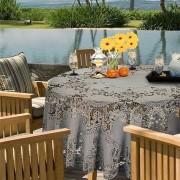 Unique Living Lichtgrijs tuin tafellaken voor buiten 180 cm rond van kunststof