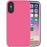 Para IPhone X PC + TPU Antideslizante Protector Cromado, Pulse El Boton Volver Funda (magenta)
