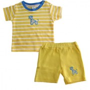 Magic Train Cotton Yellow Striped T-Shirt & White Solid Shorts Set for Baby Boys and Baby Girls