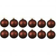 Merkloos 12x Mahonie bruine glazen kerstballen 10 cm mat
