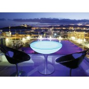 Moree - Ronde Eettafel Lounge - Hoogte 75 Cm LED Pro Outdoor - Wit