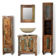 vidaXL Reclaimed Solid Wood Vanity Cabinet Set with Mirror & 2 Side Cabinets