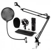 CM001B Set Microfone V4 Microfone de Condensador Braço p/ Microfone Proteção POP Preto