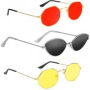 SRPM Cat-eye, Retro Square Sunglasses(Red, Black, Yellow)