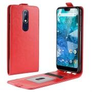 Nokia 7.1 Verticale Flip Cover met Creditcard-slot - Rood