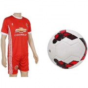 Combo of Premier League Red/Purple Football (Size-5) with Suit (Jersey + Shorts)