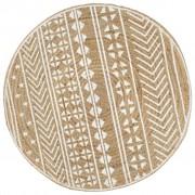 vidaXL Ръчно тъкан килим от юта, бял принт, 90 см