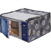 Glassiano White Flower Printed Microwave Oven Cover for IFB 30 Litre Convection Microwave Oven 30SC4 Metallic Silver