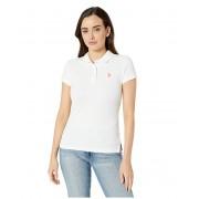 US POLO ASSN Neon Logo Polo Shirt Optic White 1