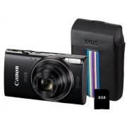 Aparat Foto Digital Canon IXUS 285HS, 20.2 MP, Filmare Full HD, Zoom optic 12x (Negru) + Card 8GB + Husa