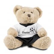 Presenter Teddybjörn som bär fotbollströja med namn
