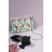 Womens Next Frame Clutch - Green Floral