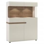 Vitrin, fehér extra magas fényű HG/tölgy sonoma sötét, LYNATET TYP 33