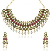 Kriaa by JewelMaze Zinc Alloy Gold Plated White Austrian Stone Kundan Necklace Set-AAA0633