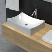 vidaXL Lavabo de salle de bain en céramique Blanc brillant