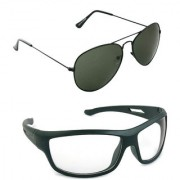 Magjons Fashion Combo Of green Aviator And Night Driving Sunglasses