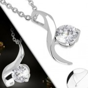Ezüst színű nyaklánc, Crystal cirkónia kristályos medállal
