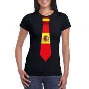 Shoppartners Zwart t-shirt met Spanje vlag stropdas dames