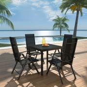 vidaXL Set mobilier de exterior, 5 piese, aluminiu și WPC
