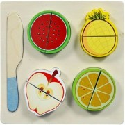 Shribossji Fruit Cutting Wooden Tray With Fruits For Kids