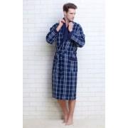 Evateks Стильный мужской вафельный халат из натурального хлопка синего цвета в клетку Evateks №10020 Синий
